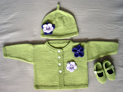 Debbie Bliss Jacket With Moss Stitch Bands, Simple Hat and Moss Stitch Shoes