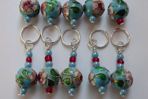 Blue metal ball stitch markers