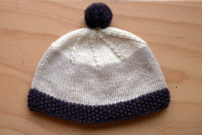 Moss Stitch Trim Hat, all done