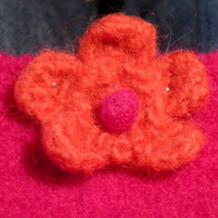 Sophie number two with the flower pinned over the clasp