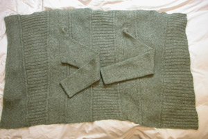 Green Sussan sweater laid flat